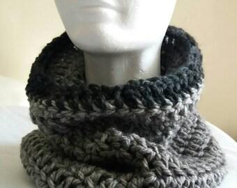 Chunky Gray Crochet Cowl