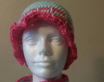 Girls Crochet hat and infinity scarf