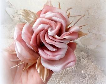 Silk flower corsage etsy silk flowers rose brooch flower for bride silk flower corsage silk brooch wedding pink rose rose fabric flowers mightylinksfo