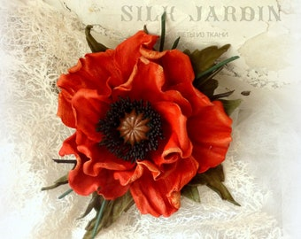 Flower of leather, Corsage flower, leather gift for her, flower brooch, leather jewelry, poppy , red broch, leather flower, red flower