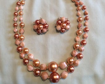 Vintage beaded necklace and clip earrings