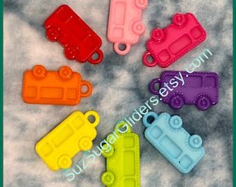 School Bus #2 Charm Pendant (535grams) for DIY Sugar Glider, Ferret & Bird Toys; Kid's Jewelry Making