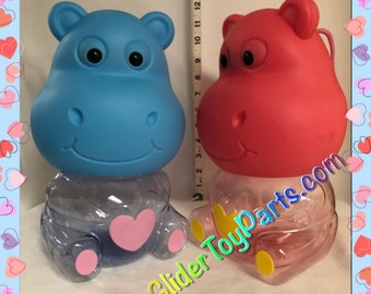 """12"""" Hippo 'Jelly' Bank Toy Base for Sugar Gliders or Child's Toy"""