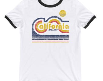 16eba89850c California Dreamin Shirt For Men and Women White - Ringer Tee 70s - Vintage  Inspired T Shirt - Cali T Shirt - California Dreaming Shirt