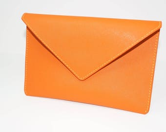 Hand Stitched, Handmade Brown Saffiano Leather Envelope Clutch