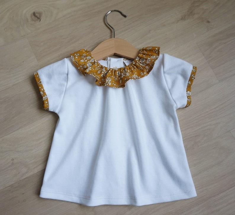 d1867897dff0a T-shirt col Liberty blouse bébé fille haut col pierrot