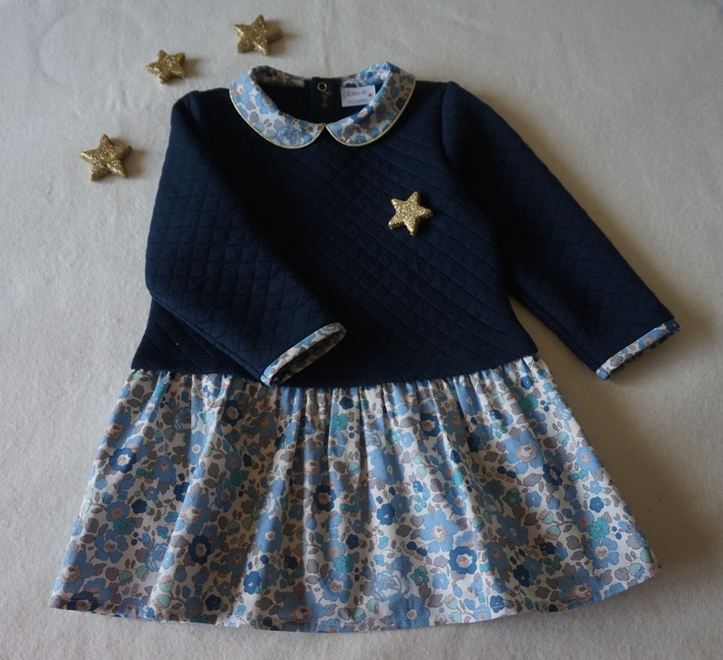 6981cc430da8e Dress Liberty quilted winter dress baby girl Liberty to   Etsy