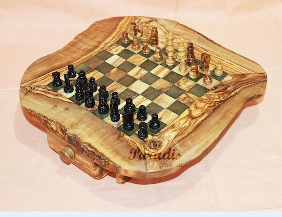 Table d/'échecs en bois d/'olivier à support rustique 60 cm Cadeau Noel maman
