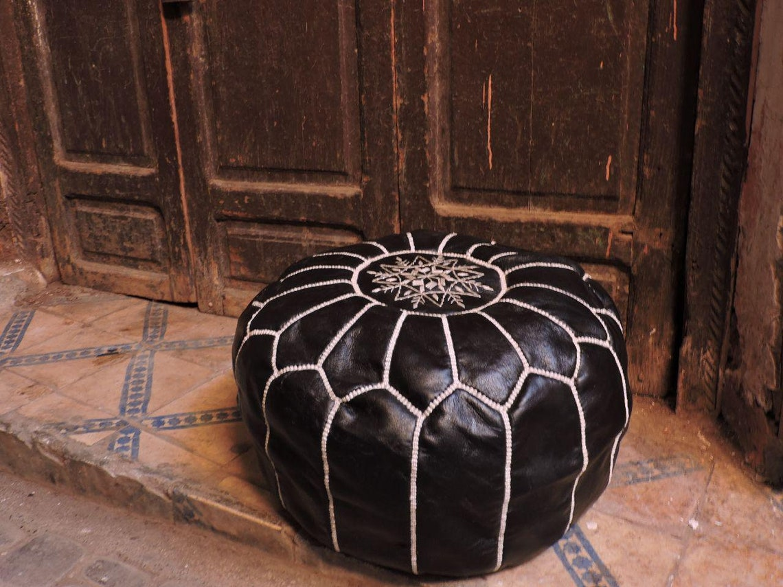 Moroccan set of two Ottoman 2x Pouf, Moroccan black poufs, leather Moroccan poufs, handstitched pouf, Moroccan traditional sit, Black poufs.
