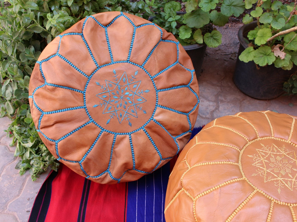 Set of 2X POUFS Moroccan poufs, handmade leather poufs, handstitshed poufs, ottoman leather poufs , living room sits, two Moroccan poufs.