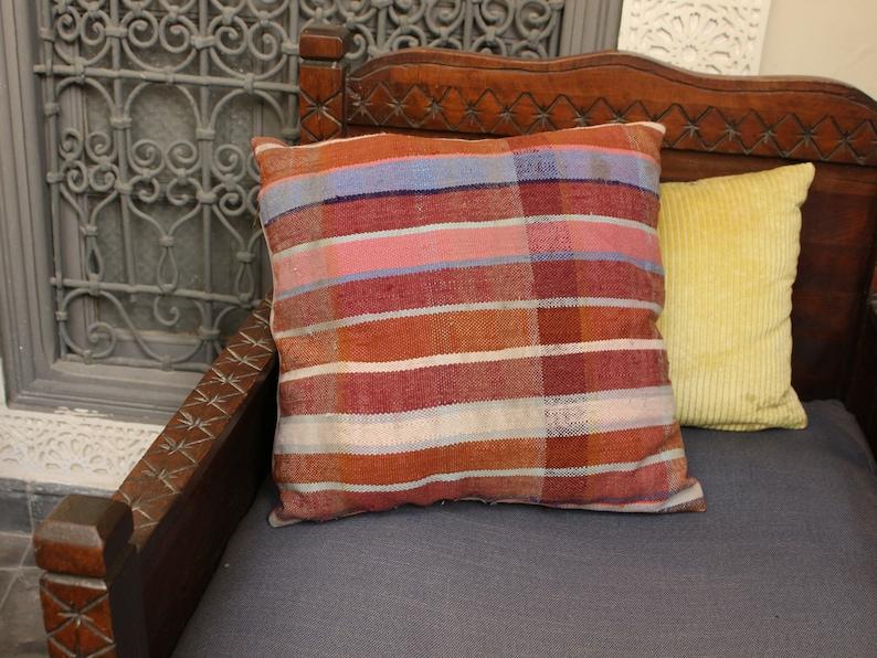kilim pillow cover handwoven pillow case by Berber women. Moroccan pillow