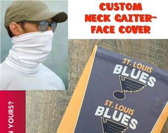 Custom Face Cover - Personalized Neck Gaiter - Blues Mask