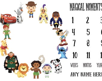 Baby Storybook Chapter Monthly Milestone Growth Stickers Storybook Fairytale Baby Nursery Theme Baby Shower Gift MS948 Baby Photo Prop