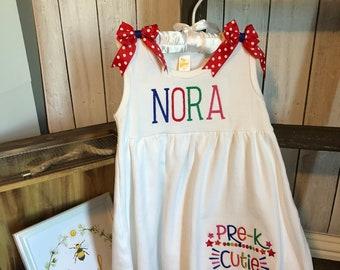 Back To School Toddler Dress, Pre-K Cutie Dress, Preschool Cutie, Kindergarten Cutie, 1st Grade Cutie, 2nd Grade Cutie, 3rd Grade Cutie