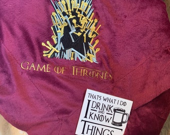 Embroidered Game of Thrones Sherpa Blanket - Iron Throne Personalized Sherpa Blanket