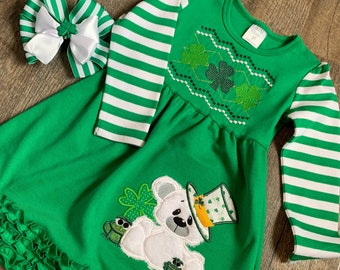 Toddler Sibling Saint Patricks Day Outfit - Toddler Girl St Pat's Day Dress - Toddler Boy/Girl St Pat's Day Shirt