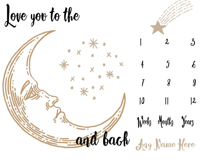 Love you to the Moon Milestone Baby Blanket - Moon Month Baby Blanket - Personalized Baby Blanket