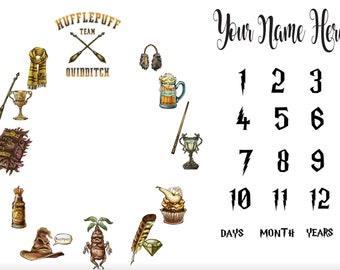 Hufflepuff Inspired Milestone Blanket, Harry Potter Inspired Minky Milestone Blanket, Baby Blanket,  Matching Pillow, Bib & Burp Cloth
