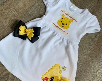 Toddler Sibling Pooh Bear Outfit - Toddler Girl Winnie Dress - Toddler Boy/Girl Bee Hive Shirt