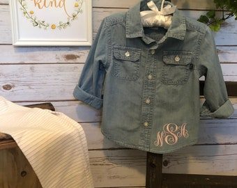 Personalized Toddler Jean Shirt - Monogrammed OshKosh BGosh Shirt - Toddler Jean Shirt