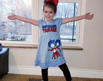 18m 2T Custom Boutique Cat in the Hat 12m 3T 4T 7 5T 6 8 Dress Dr Seuss shirt Swing Top Dress Twirl