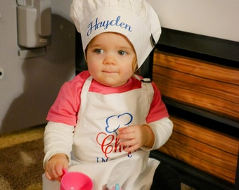 Chef In Training Personalized Toddler Apron and Chefs Hat - Kids Apron & Hat Set - Childs Apron Set