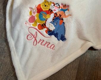 Personalized Winnie Inspired Blanket -  Pooh Blanket - Pom Blanket