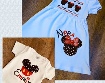 Toddler Sibling Mouse Ears Outfit - Toddler Girl Mouse Ears Dress - Toddler Boy/Girl Mouse Ears Shirt