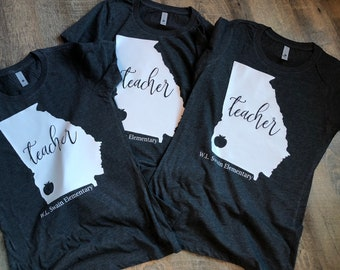 Personalized Teacher Shirt - Personalized Teacher State/School Shirt - Tri-Blend and Raglan Shirt