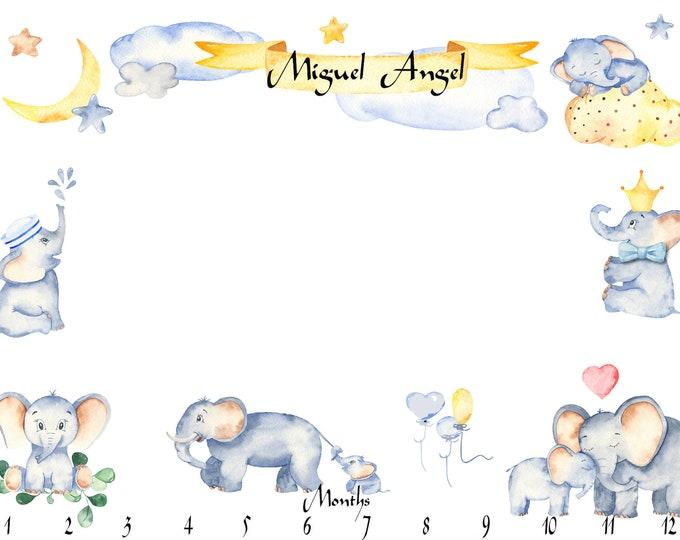 Elephant Milestone Baby Blanket - Personalized Month Baby Blanket