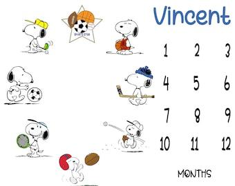 Peanuts Snoopy Sports Inspired Milestone Baby Blanket - Charlie Brown Snoopy Milestone Blanket - Baby Milestone Blanket