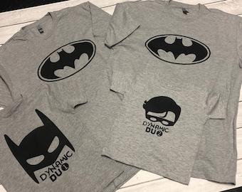 Sibling Shirts/Onesies - Dynamic Duo - Batman Robin Family Shirts - Personalized