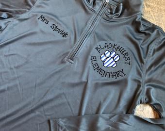 Embroidered Teacher Shirt - Teacher Personalized School  Quarter Zip