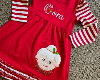 Toddler Mrs Santa Outfit - Toddler Girl Christmas Dress - Mrs Santa Outfit