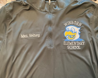 WINBORN Elementary Embroidered Teacher Shirt - Teacher Personalized School Polo and  Quarter Zip