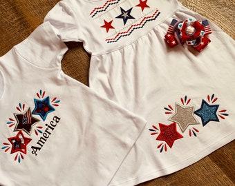 Toddler Sibling Patriotic Outfit - Toddler Girl July 4th Dress - Toddler Boy/Girl Patriotic Shirt