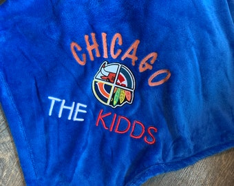 Personalized Chicago Mink Touch Blanket, Chicago Sports Fan gift, Cubs Blanket
