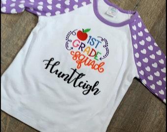Back to School Raglan - Personalized School Shirts - Kindergarten, 1st Grade, 2nd Grade, 3rd Grade, 4th Grade Squad Embroidered Shirt