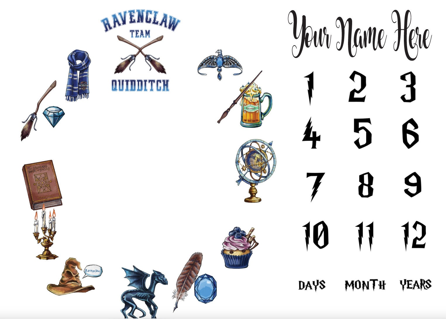 Ravenclaw Inspired Milestone Blanket Harry Potter Inspired Minky Milestone Blanket Baby Blanket Matching Pillow Bib Burp Cloth