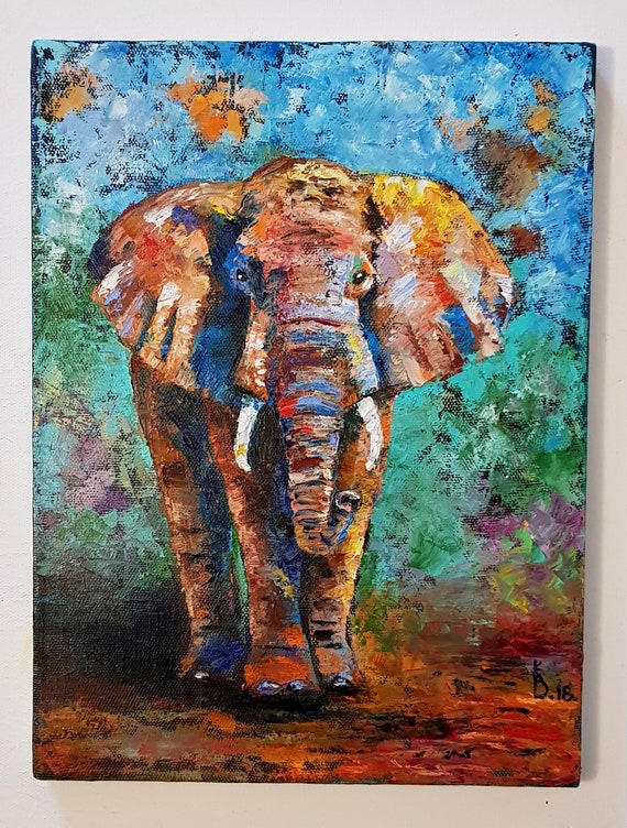 Elephant Pictures Impasto Painting Elephant Art Abstract Elephant Wall Art African Elephant Oil Painting Animals Images Abstract Art