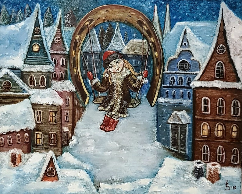 Cyber Week Christmas gift Christmas snow houses fairy tale Black Friday  Christmas baby Christmas night Christmas painting Christmas nursery