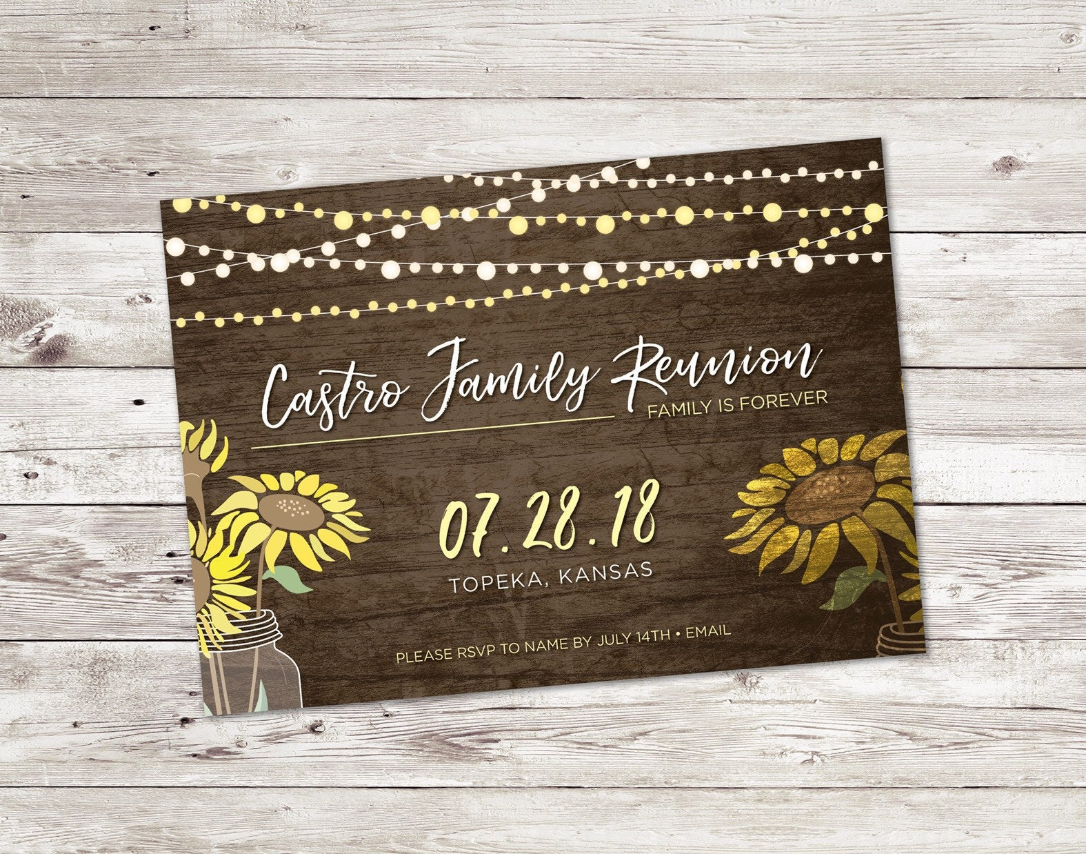 Rustic Wedding Invitations Nz: Sunflower Invitation Reunion Invitation Rustic Invitation