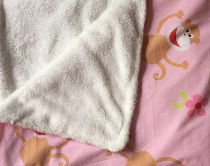 Pink Baby Blanket with Monkeys