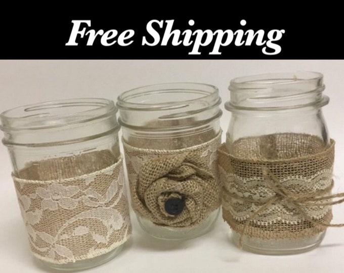Mason Jar Burlap Lace Centerpieces