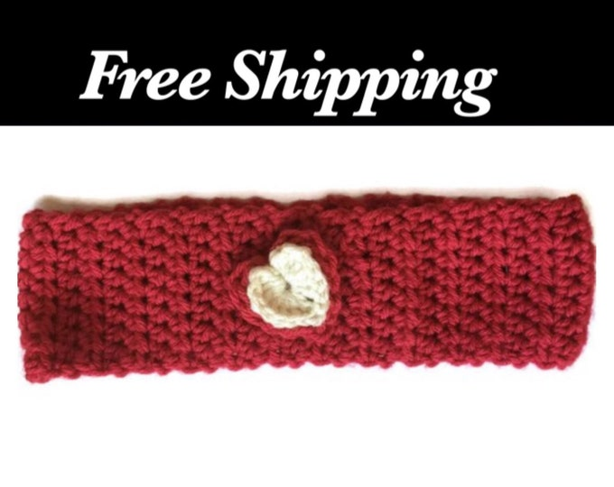 Crochet Headband, Heart Ear Warmer