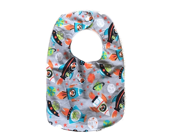Spaceship Bib, Snap Baby Bib
