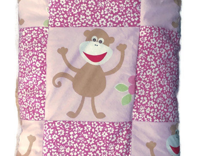 Pink Baby Quilt with Monkeys