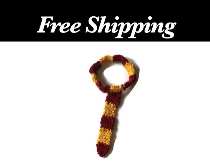 Crochet Red and Gold Toddler Tie