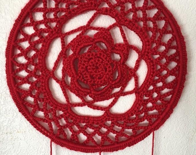 Dreamcatcher, Crochet Dreamcatcher, Boho, Boho Home Decor, Red Dream Catcher, Crochet, Large Dreamcatcher, Boho Dreamcatcher, Mom Gift