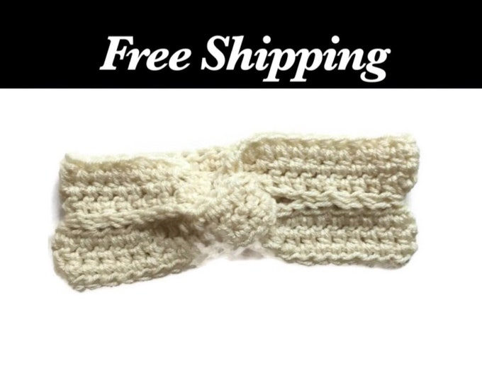 White Twisted Crochet Ear Warmer
